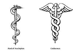 Rod of Asclepius and Caduceus